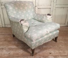 Mid 20thC Howard and Sons Harley armchair in original ticking - Stock - Dean Antiques Ltd, Howard and Sons chairs and sofas