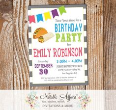 Taco Party Diagonal Stripes Mexican Fiesta Bunting Birthday invitation - Couples Shower Engagement Baby Shower - cinqo de mayo - any event by NotableAffairs