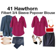 """""""Filbert 3/4 Sleeve Popover Blouse"""" by katrinalake on Polyvore. Love the blouse and polka dot skirt"""