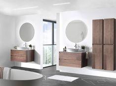 Inspirerende trends: warme houtsoorten zoals notelaar, dampwerende spiegels. Ook frames doen hun intrede, in combinatie met meubelen en inloopdouches. Zwart kraanwerk en accessoires zorgen voor de finishing touch! Exclusief verdeeld door X2O. #Balmani #X2O #frames #zwart kraanwerk #zwarte eik Solid Surface, Double Vanity, Mirror, Bathroom, Furniture, Home Decor, Bath, Industrial Interiors, Bath Room