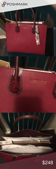 8ddaf3ea3edf Michael Kors LG Acrdion convertible Leather tote Maroon/ oxbld color.  Crafted from pebbled leather