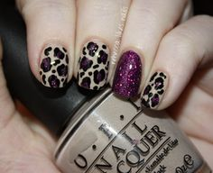 Glitter and leopard! Sparkly mani by rebecca likes nails.