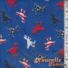 Cotton Jersey Patriotic Dinosaurs