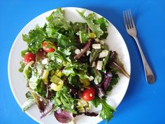 Tossed Salad with Feta anad Pepperoncinis - easy way to dress a salad. Super quick and delicious.