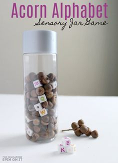 Work on letter recognition this fall with our Acorn Alphabet Sensory Jar Game! Head outdoors to search for acorns and then return to create this special hands on literacy focused game for your preschooler.Here's how to play! Teaching The Alphabet, Learning Letters, Alphabet Activities, Sensory Activities, Teaching Kids, Kids Learning, Reading Activities, Sensory Rooms, Sensory Table