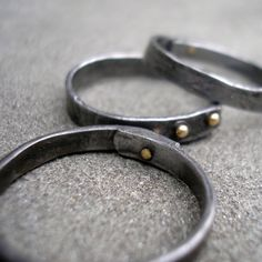 Oro anillos acero forjado acero apilar anillos 18 por lsueszabo