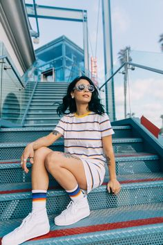 Going Retro: the Chromatic Stripe Dress & Summer Camp Crew Sock. Vans Sk8 High, Vans Girls, Stripe Dress, Girl Blog, Dress Summer, Crew Socks, Pretty People, Spring Outfits, Cute Outfits