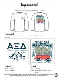 JCG Apparel : Custom Printed Apparel : Alpha Xi Delta Christmas T-Shirt Greek Shirts, Alpha Xi Delta, Custom Design Shirts, Winter Formal, Sorority And Fraternity, Comfort Colors, Beetle, Screen Printing, Vw