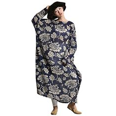 YESNO O183 Women Long Floral Dress Caftan Casual Plus Size Loose Fit Maxi 100 Cotton