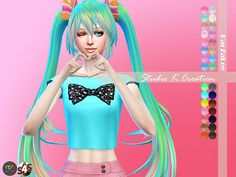 Miku animate hair 53 at Studio K-Creation via Sims 4 Updates