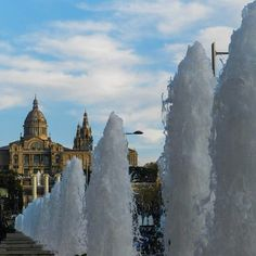 Art Museum and Fountains in Barcelona, Spain