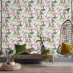 A haven of fantasy florals this beautiful illustrative design creates a statement with its extra-large scale. Brown Wallpaper, Of Wallpaper, Flower Wallpaper, Paradise Wallpaper, Wallpaper Suppliers, Wallpaper Please, Graham Brown, Design Repeats, Burke Decor