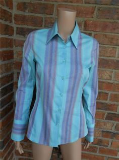 THOMAS PINK Women Shirt Size US 6 UK 8 Eur 36 Fitted Stretch Blouse Top Striped #ThomasPink #ButtonDownShirt #Casual