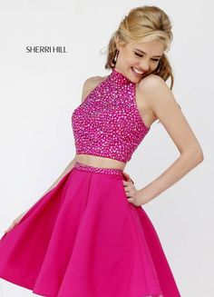 Sherri HIll #11317 a to cute two piece short dress for prom or homecoming