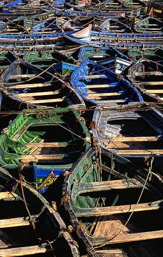 Boats at the shipyards in Essaouira. So the obvious question is How do you remember where you parked?