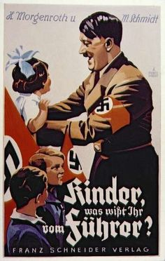 This is a German propaganda picture. it shows Hitler around children with all of them looking happy. this was used to make Hitler look like this nice man that people should like. Nazi Propaganda, Ww2 Posters, Political Posters, Political Art, Disney Marvel, World History, World War Two, Vintage Posters, Wwii