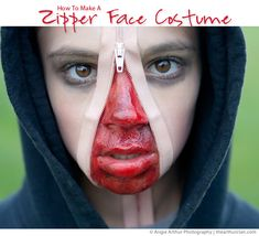 Instructions to make a Zipper Face Halloween Costume {via Angie Arthur from theArthurClan.com}