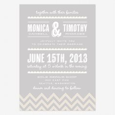 Printed Invite in Grey and Blush