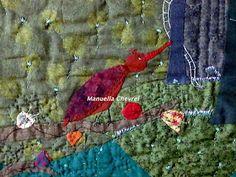 """~  Manuella Chevrel  ~               : L'oiseau. Chaque tableau est une création unique entièrement faite à l'aiguille; j'emploie différents tissus, du lin, du chanvre, du liberty , du coton etc. Les différentes matières ,points, épaisseurs varient. Je m'intéresse aux dictons populaires, riches en images, aux ressemblances, à l'imagerie enfantine et crée des """"mondes imaginaires""""."""