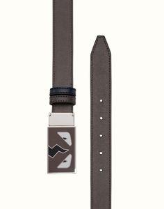 reputable site 5ce9e 86aa8 FENDI BELT - in gray and blackboard blue leather Fendi Belt, Designer  Belts, New