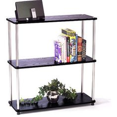 Designs+2+Go+3+Shelf+Bookcase,+Black+and+Silver