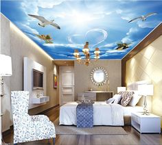 3d ceiling murals wallpaper custom photo non-woven The white clouds Love angel painting 3d wall mural wallpaper for living room #Affiliate