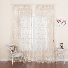 Floral Jacquard Country Sheer Curtain   #curtains #decor #homedecor #homeinterior #beige