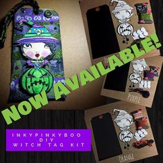 The first #diy #inkypinkybo #witch #tag #kit is now available in my store. Direct store link is on my profile. I have three color choices available. #zombiegreen #orange and #purple These are #limitededition