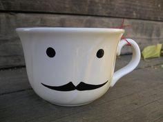Major Teacup  Mr Gable Mustache by BugsAndMonsters on Etsy, $12.00