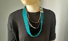 A unique, multi stranded, saori woven necklace titled Petrol blues. Multi Strand Necklace, Textile Artists, Jewelry Art, Turquoise Necklace, Blues, My Etsy Shop, Jewelry Making, Unique, Group