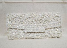 Vintage Beaded White Satin Evening Bag Clutch by KansasKardsStudio, $22.50