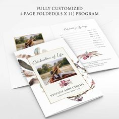 Custom Memorial Service Schedule Template Dreamcatcher is a folded 8.5 x 11 template design that will be sent as two individual files for printing. Perfect for a celebration of life as well.