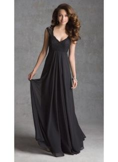 A line V Neck Chiffon and Lace Floor Length Bridesmaid Dresses, different color than black of course