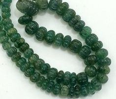 Emerald Melon Beads Emerald Necklace Emerald by gemsforjewels