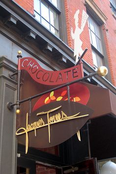 Jacques Torres - drooling thinking of all this brilliant chocolate!!! Located in NYC...there are many locations now, I love going to watch Mr. Torres make the chocolate. Yum