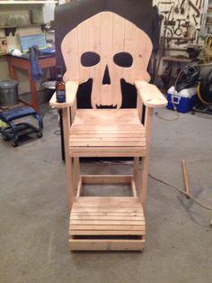 SKULL CHAIR , ADIRONDACK chair, yard furniture, solid wood ...