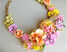 vintage flower pins -- love the colors! #jewelry #necklace