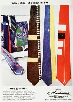 Les débuts de la cravate fantaisie dans les années 50 #mode #homme #cravate #fantaisie #annees50 #mens #fashion #fancy #tie #50s