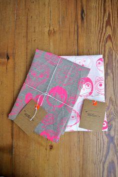 MOCHO Owl Printed FLAX Teatowel Neon Pink by SeptemberDesign