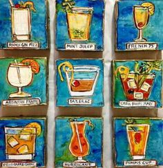 New Orleans Cocktails Original Mini New Orleans and Louisiana art 4 x 4 acrylic and mixed media on canvas 9 minis shown here. www.artbyjax.com ;   FB: Jax Frey, Artist