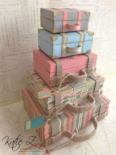 'Come Away with Me' Stacked Suitcases (view + Snapguide and Video Tutorial by Katie Zoey Ho - Wendy Schultz ~ Graphic 45 Projects Diy Love, Matchbox Crafts, Diy And Crafts, Paper Crafts, Vintage Suitcases, Vintage Luggage, Graphic 45, Shoe Box, Altered Art
