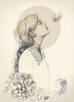 黑白 线稿 装饰画 花 女