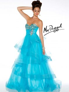 Aqua Ball Gown With Tiered Skirt - Mac Duggal   This strapless ballgown was made for dancing and twirling the night away.  AB stones on the bust cascading down the rouched waist.  Ribboned tiers of fabric flow to the floor.