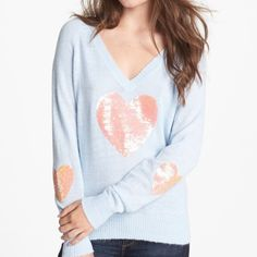 Wildfox blue happy heart sequin sweater Medium never worn just price tag missing brand tag still attached Wildfox Sweaters V-Necks