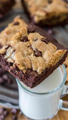 Brookies are a delicious and sinful combination of gooey, chocolaty brownies topped with a buttery chocolate chip layer. Why give upon favorite, when you can enjoy both!