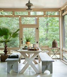 Love the screened in porch and the table and benches