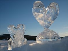 Sweden (fire and ice) Ice Heart, Heart Art, Snow And Ice, Fire And Ice, Angel Sculpture, Sculpture Art, Ice Hotel Sweden, Freeze Ice, Snow Sculptures