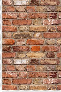 Papier peint Mur de briques orange - collection Authentic 2 de Montecolino : Papier peint chambre, Cuisine, entrée, pièce à vivre, Salle de bain à motifs - Brick Interior, Interior Walls, Murs Oranges, Red Brick Wallpaper, Spanish Tile Roof, Orange Brick, Old Brick Wall, Decoration Inspiration, Red Bricks