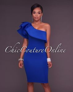 Chic Couture Online - River Royal Blue One Ruffle Sleeve Midi Dress,  (http://www.chiccoutureonline.com/river-royal-blue-one-ruffle-sleeve-midi-dress/)