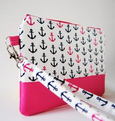Navy Blue and Pink Anchor Nautical Wristlet / Clutch / Cosmetic Bag / Zipper Pouch handmade in designer fabric